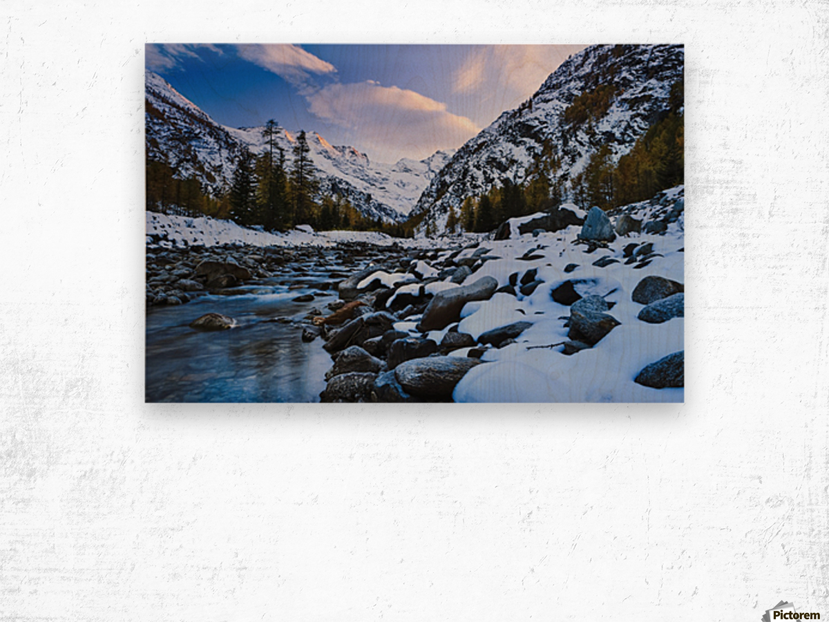 Valnontey torrent, Gran Paradiso National Park; Italy Wood print