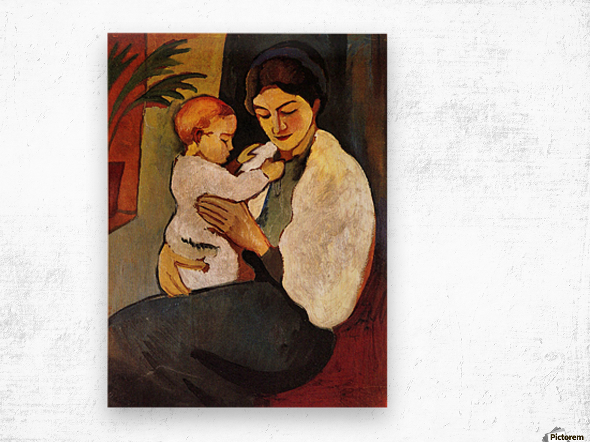 Mother and Child by August Macke Wood print