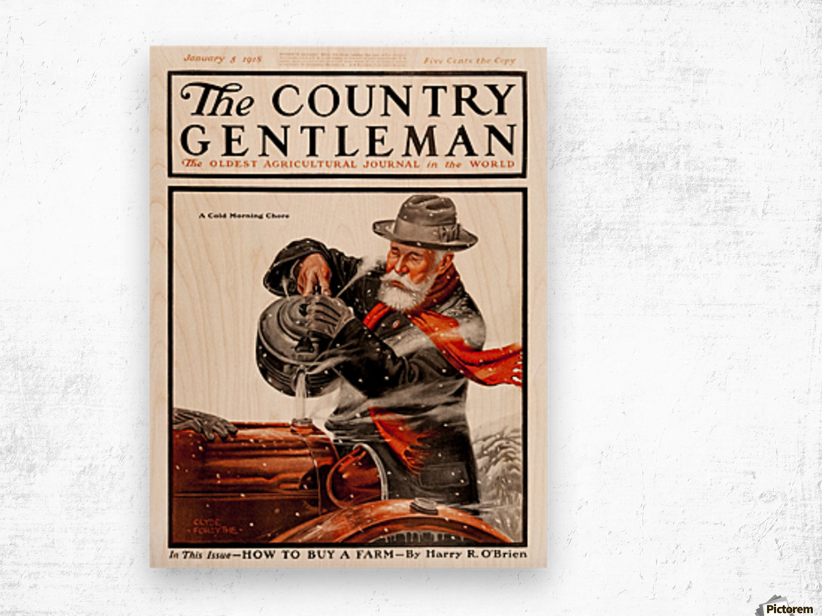 Cover of Country Gentleman agricultural magazine from the early 20th century. . Wood print