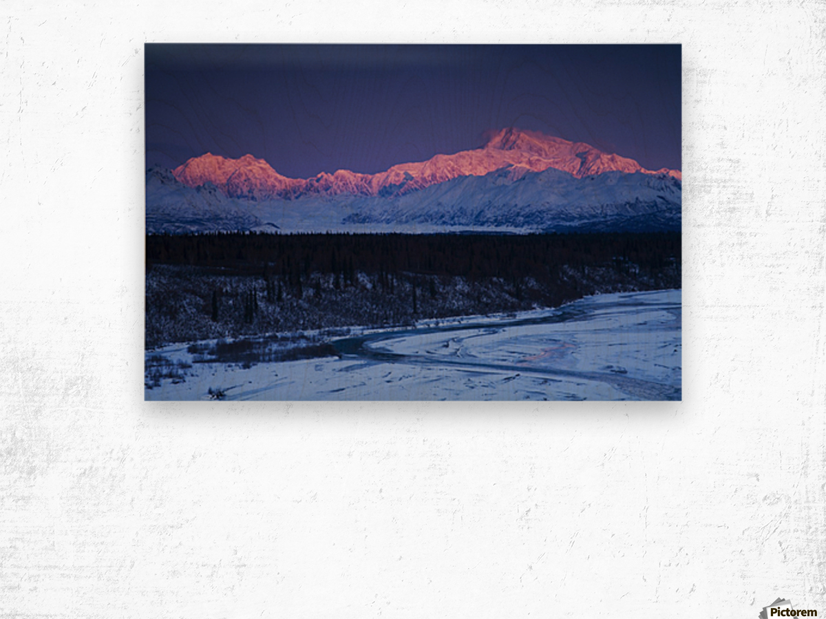 Alpenglow on Mt. McKinley and Mt. Hunter as seen from the Denali South Overlook along the Parks Highway, Denali State Park, Alaska, Winter Wood print