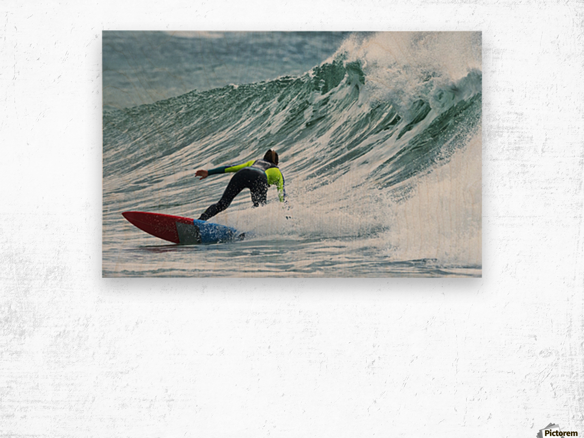 Surfer catching a wave; Tarifa, Cadiz, Andalusia, Spain Wood print