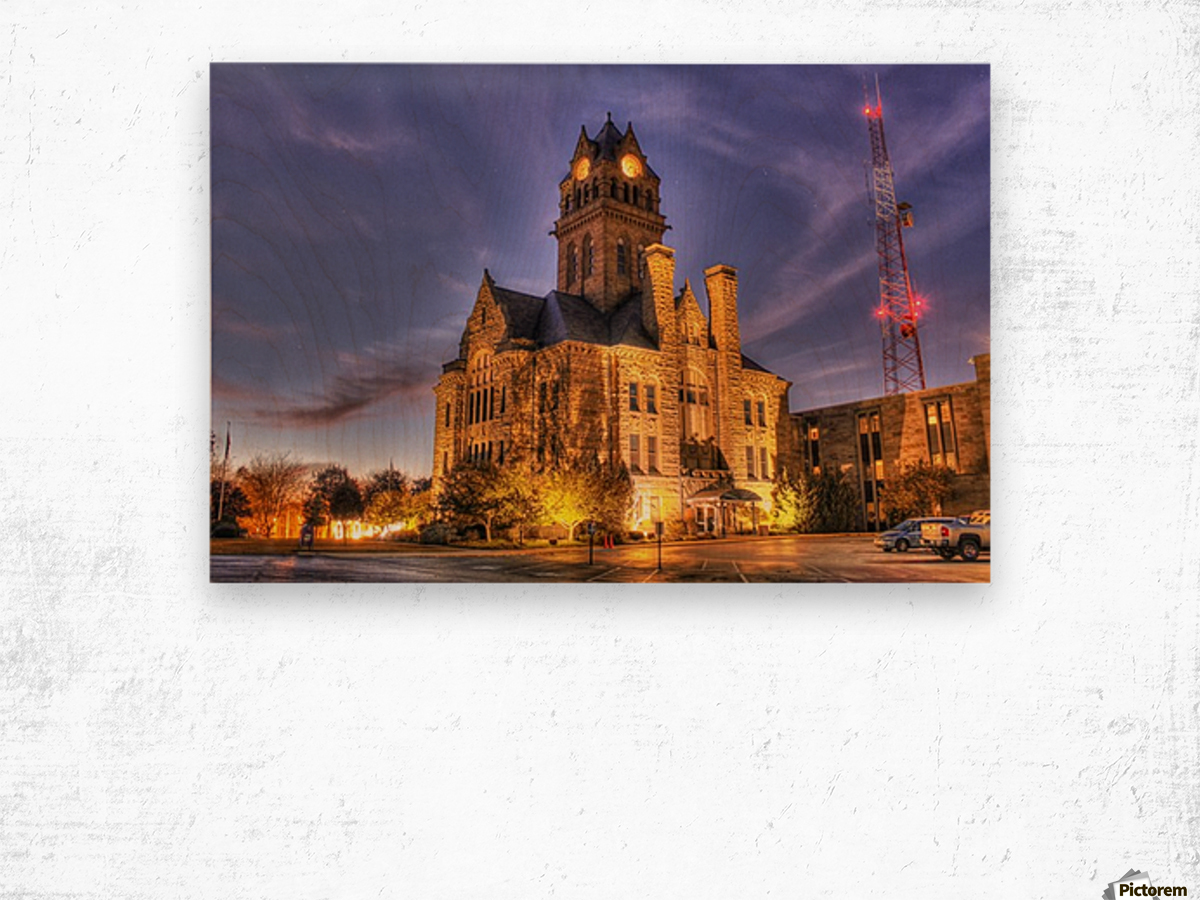 Twilight Courthouse Wood print