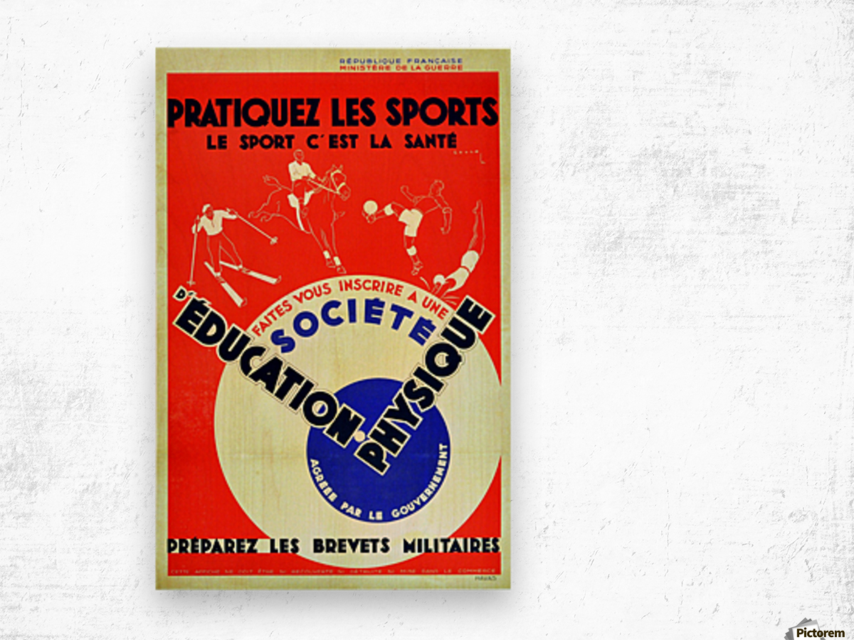 Original 1932 Art Deco Sport Poster Wood print