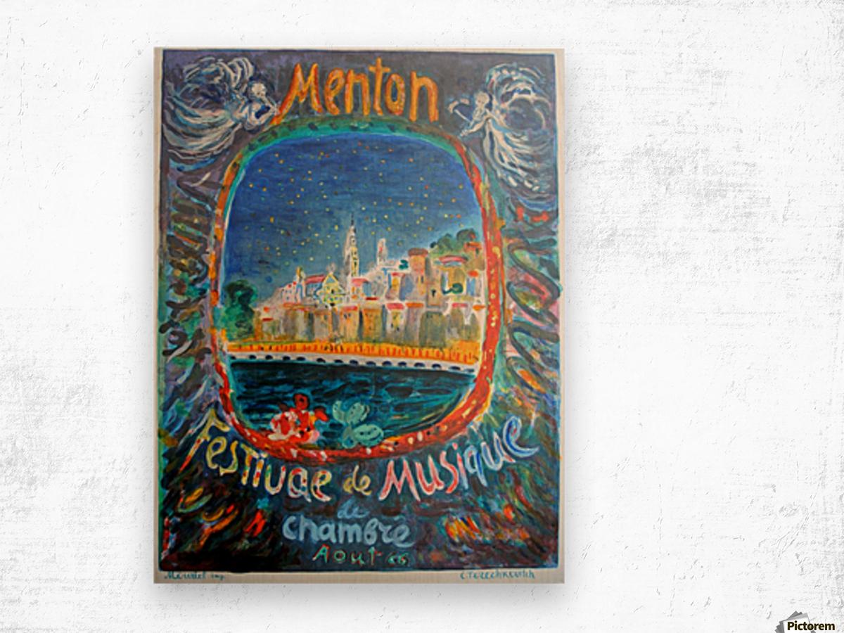 Menton Festival de Musique original advertising poster Wood print
