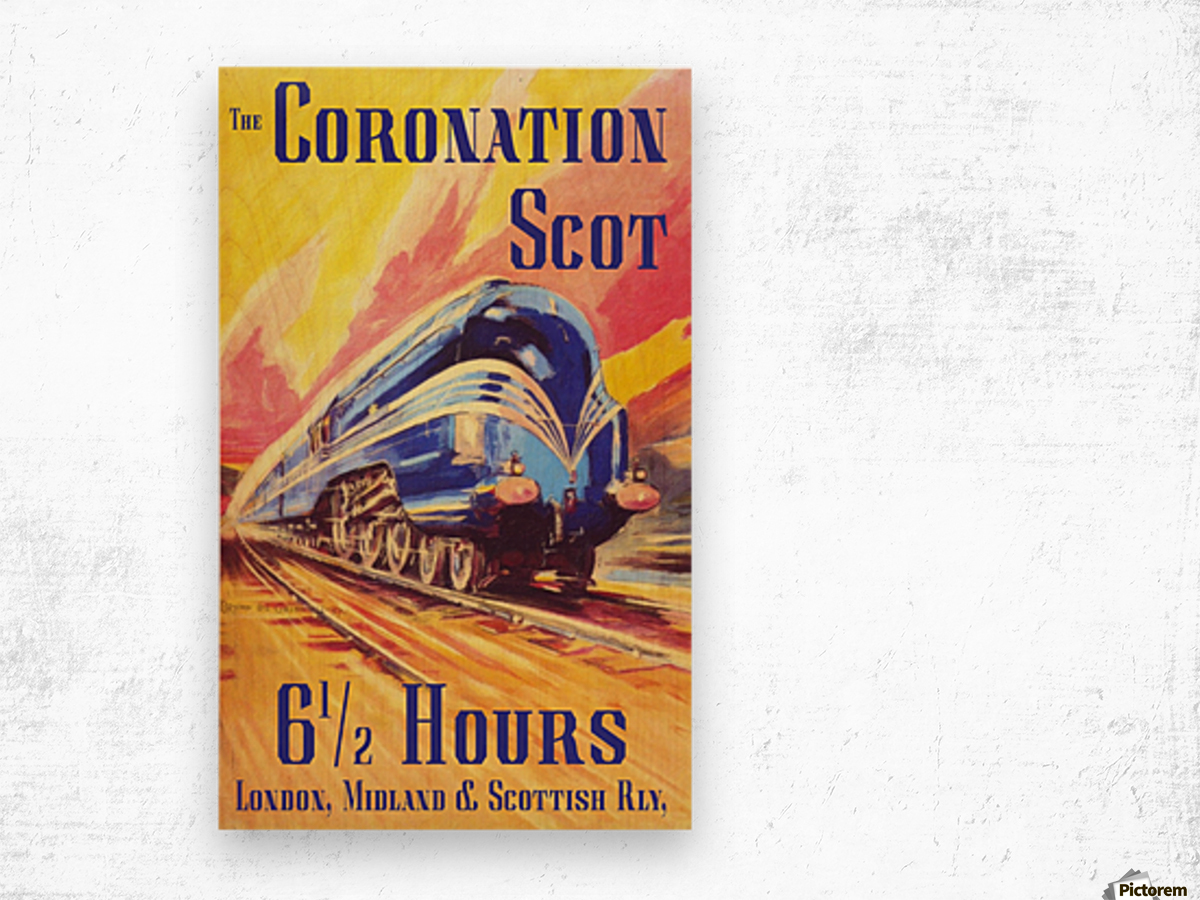 The Coronation Scot travel poster Wood print