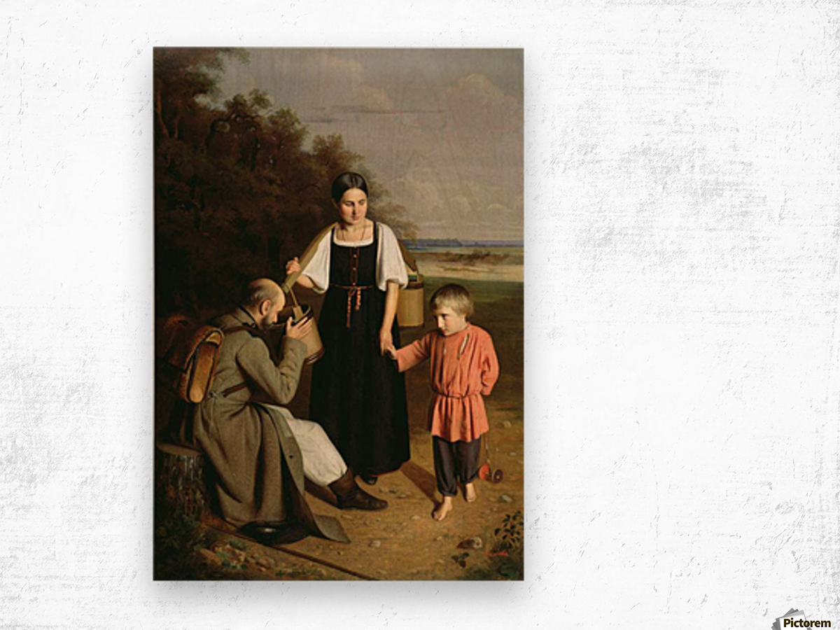 Peasant offering to a soldier a drink Wood print