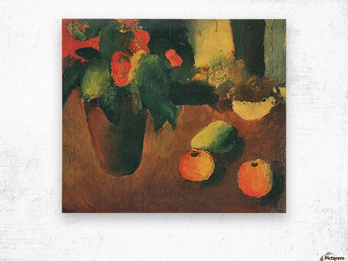 Still Life with begonia, apples and pear by August Macke Wood print
