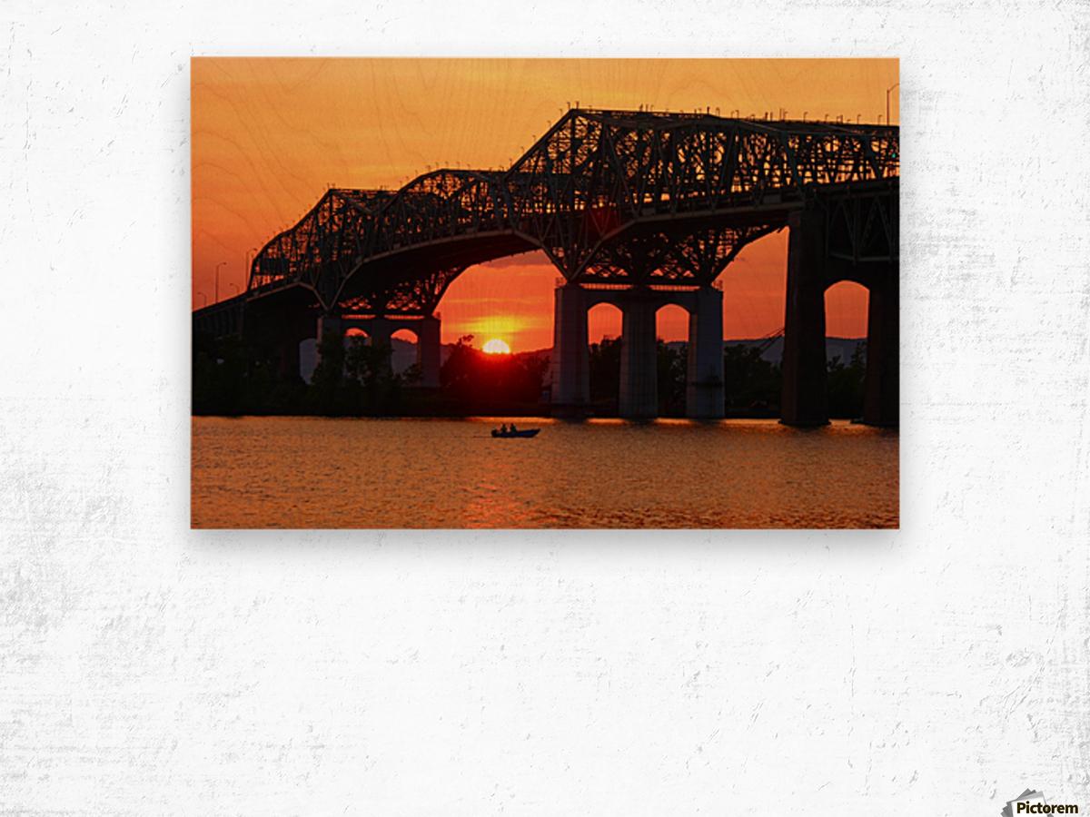 Champlain Bridge sunset Wood print