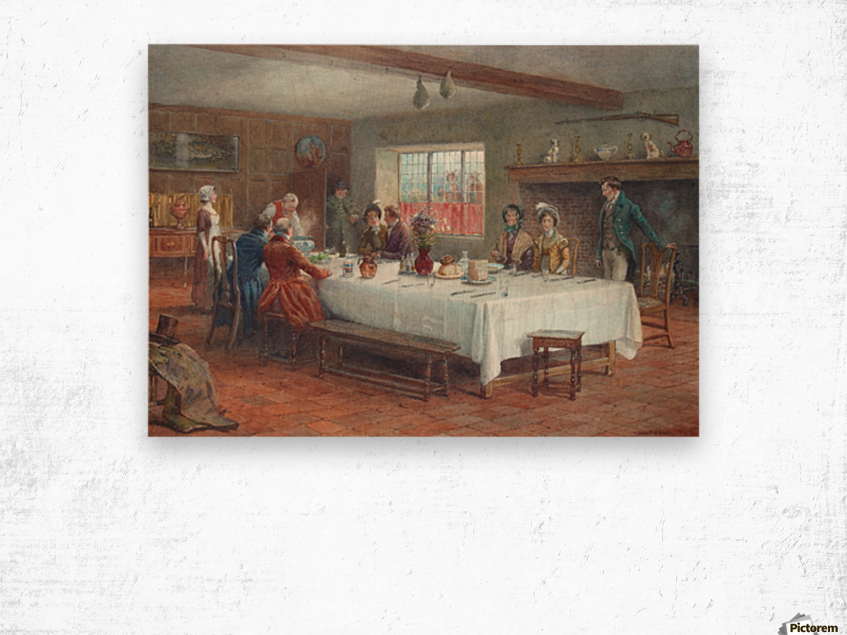 A meal stop at a coaching inn Wood print
