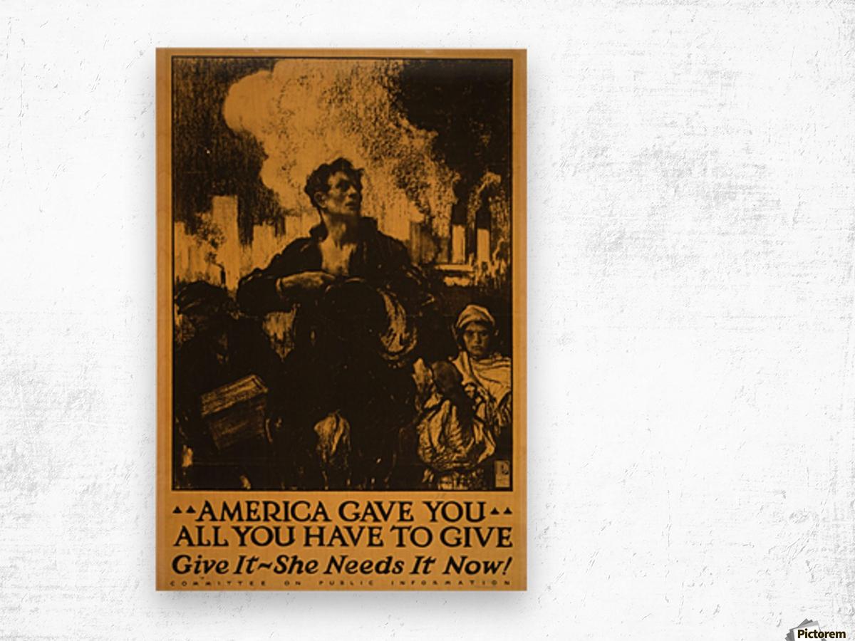 America gave it all Wood print
