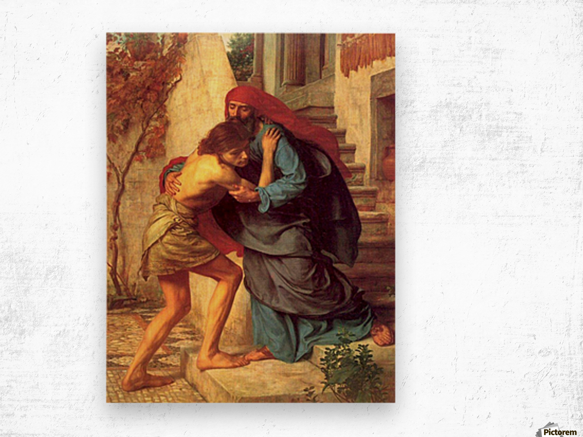 The return of the prodigal son Wood print
