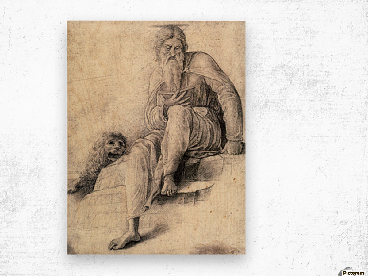 Saint Jerome Reading with the Lion Wood print