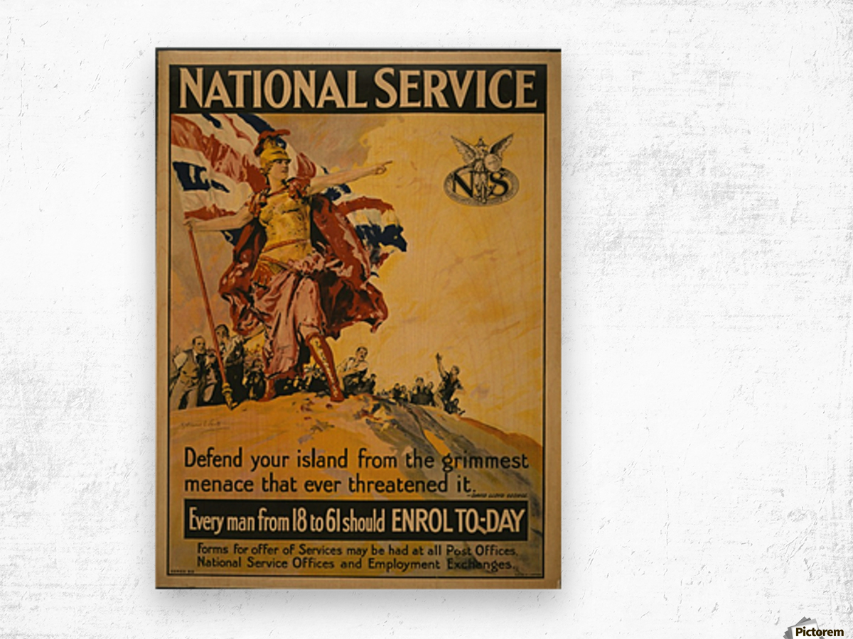 National Service Wood print
