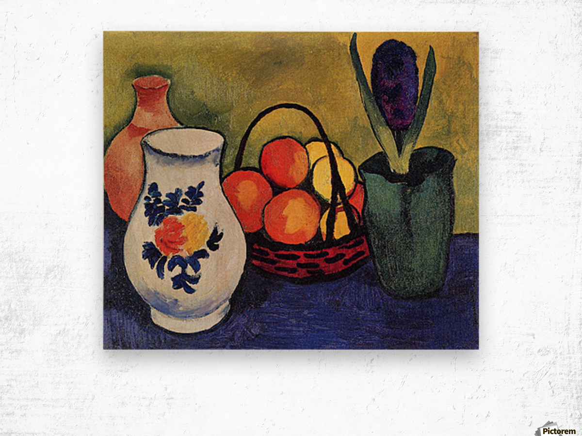 White jug with flowers and fruits by August Macke Wood print