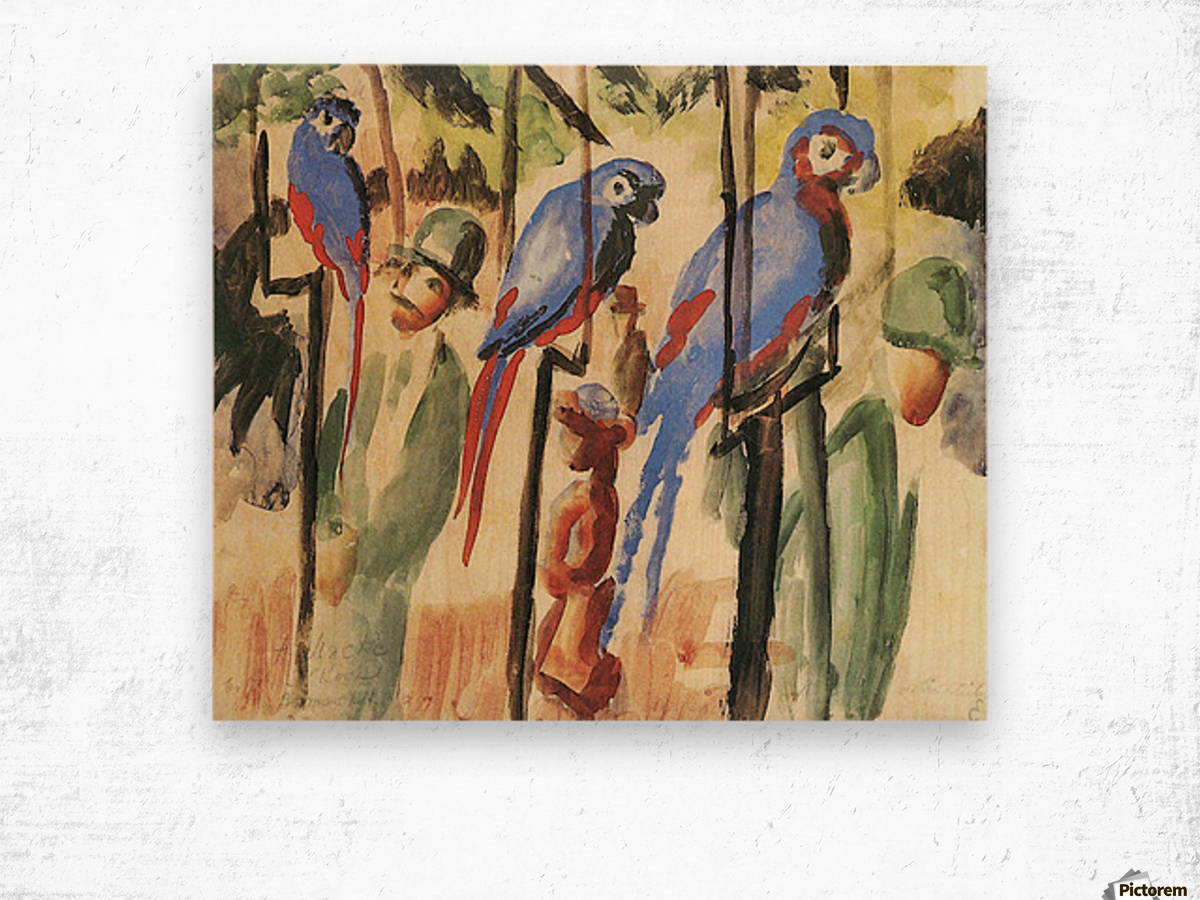 With the Parrots I by August Macke Wood print