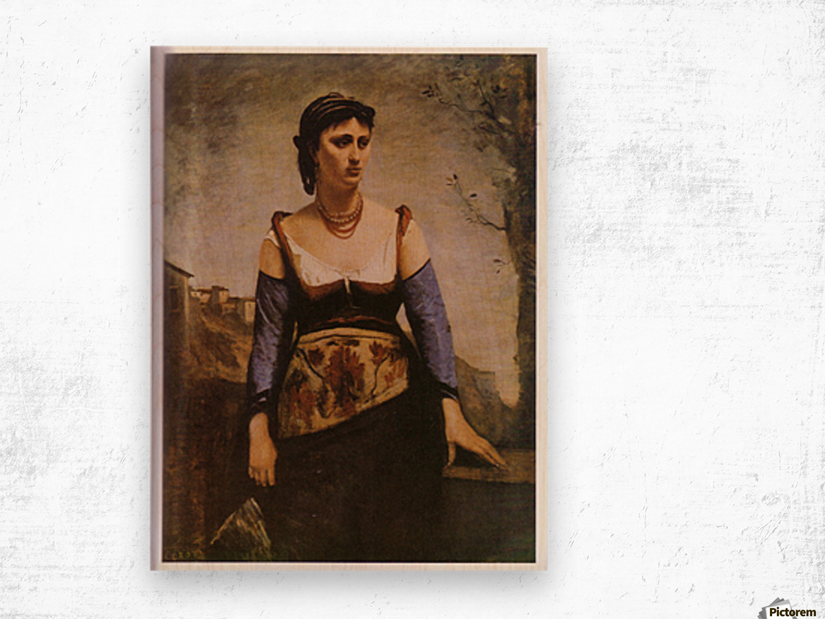 Agostina 1866 by Corot Wood print