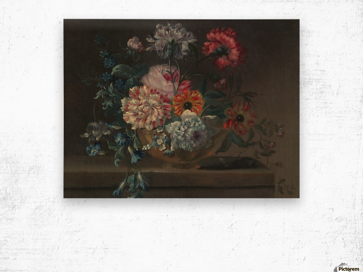 Still life of variegated carnations and other flowers on a ledge Wood print