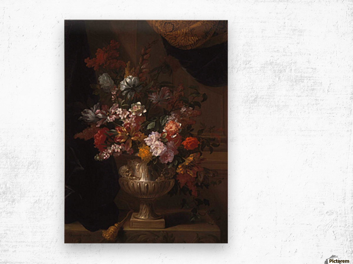 Flowers in a sculpted urns on a ledges Wood print