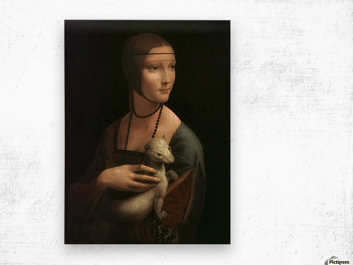 The Lady with Ermine Wood print