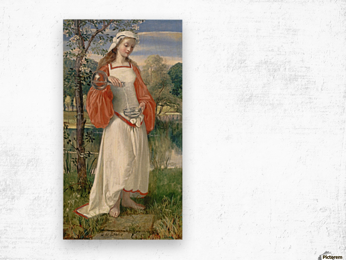 Allegorical Maiden in white dress Wood print