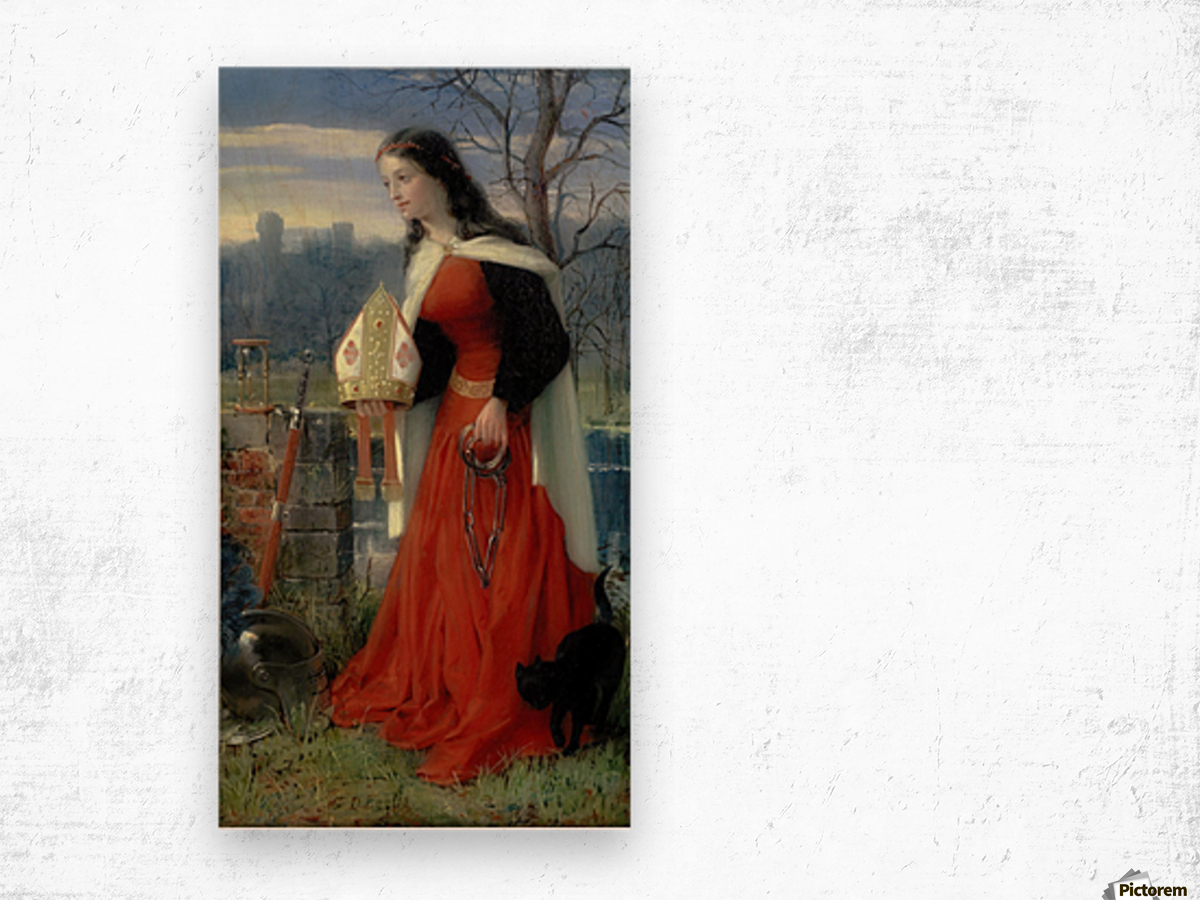 Allegorical Maiden in red dress Wood print