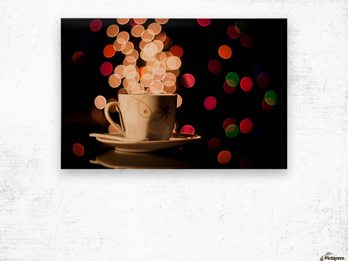 Christmas background with cup of tea Wood print