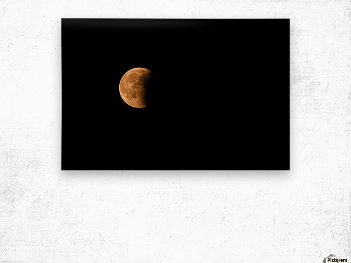 Moon, total Lunar eclipse as seen Wood print