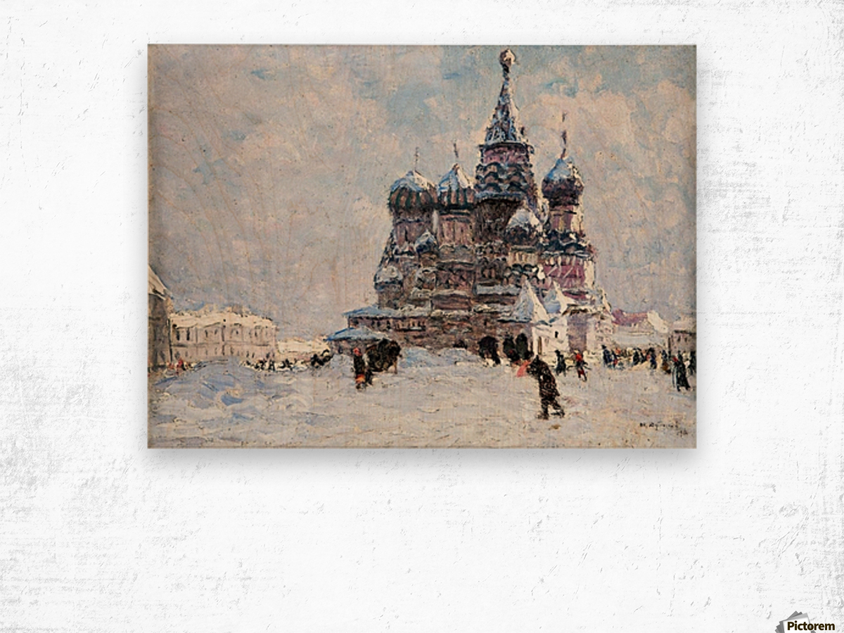 Red Square Wood print