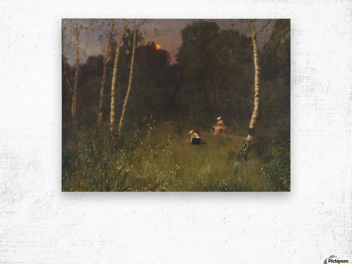 Twilight with figures Wood print