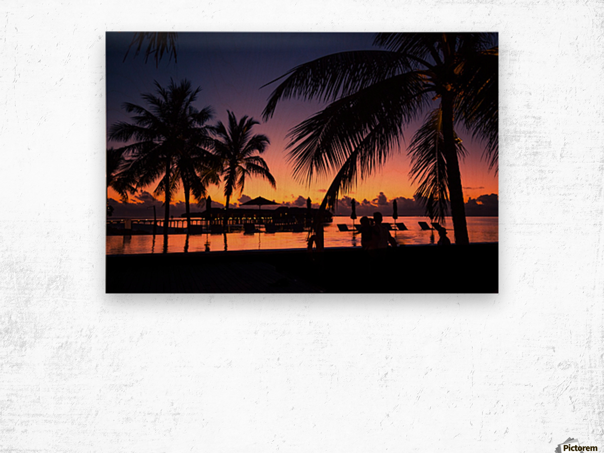 Silhouette coconut palm trees on beach at sunset. Vintage tone Wood print