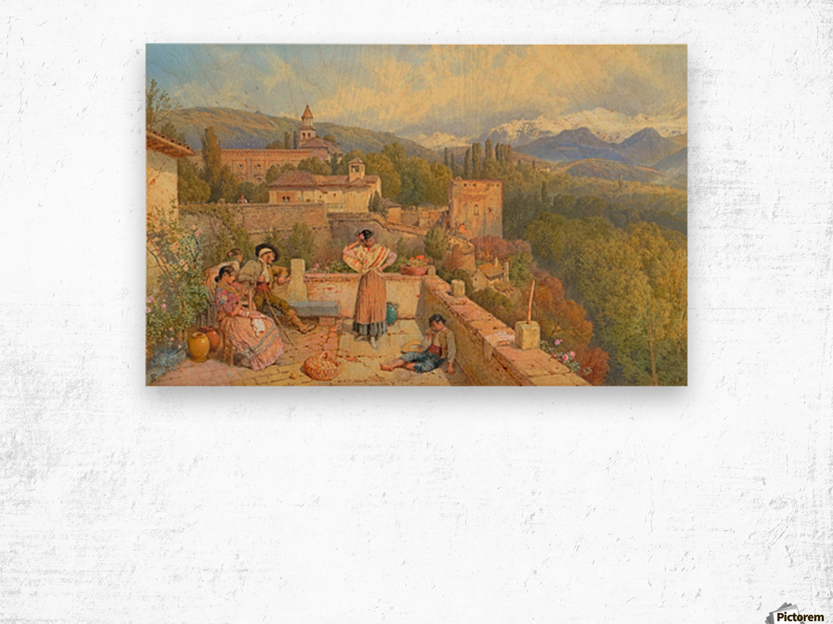 The Sierra Nevada from the Alhambra Wood print