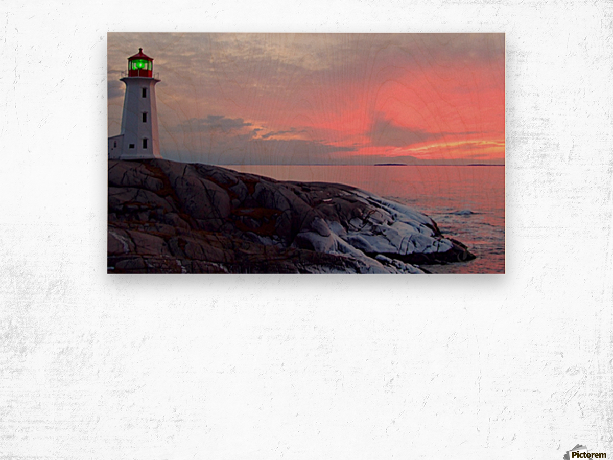 Peggys Cove Winter Sunset Wood print