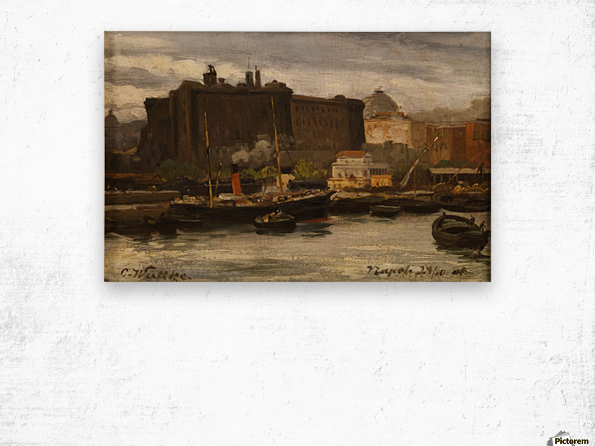 In the port of Naples Wood print