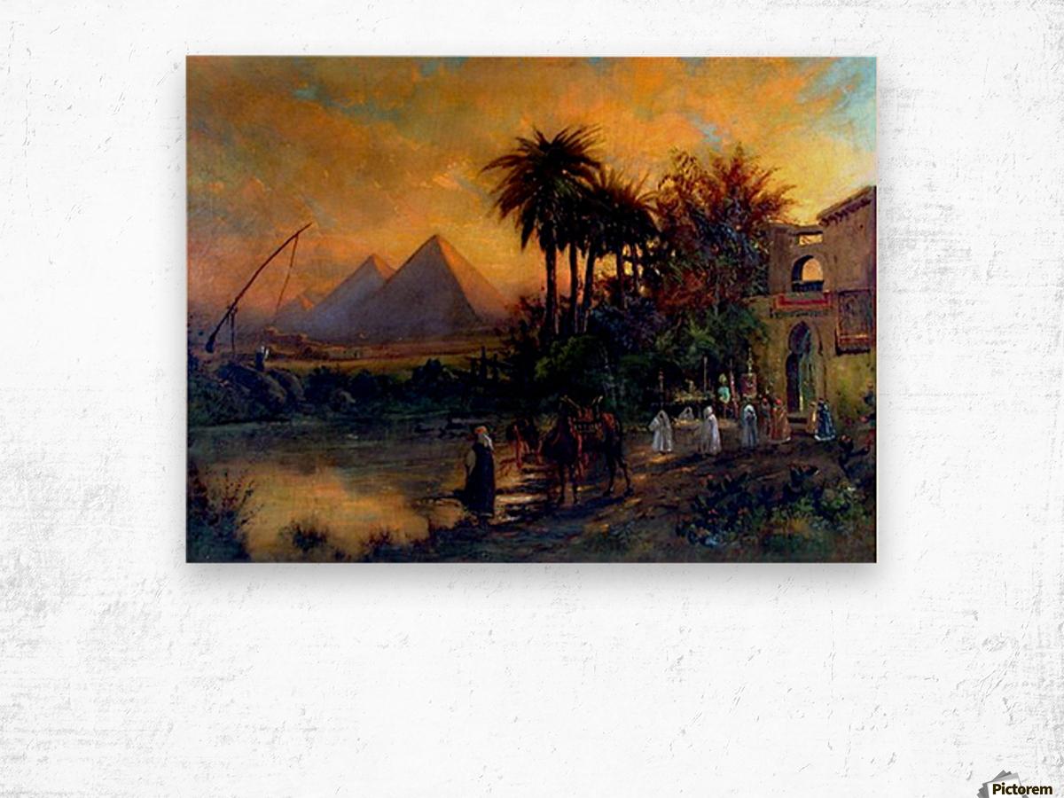 Pyramid scene Wood print