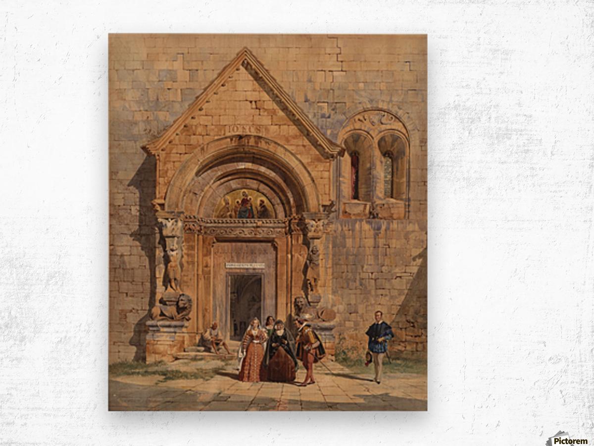 Kirchenportal und Personengruppe 1842 Wood print