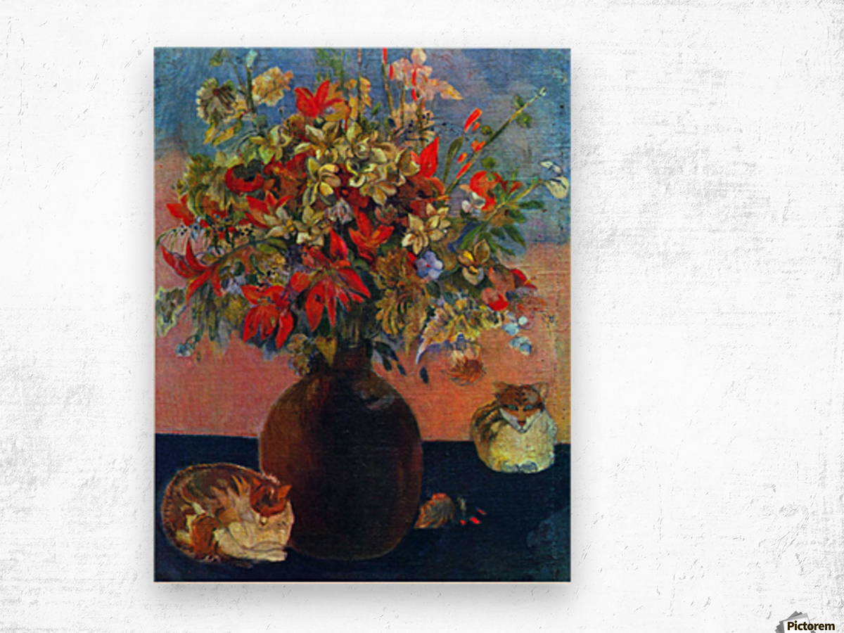 Flowers and Cats by Gauguin Wood print