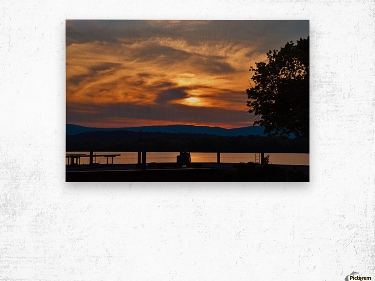 Sunset on the Shores of Ticonderoga Wood print