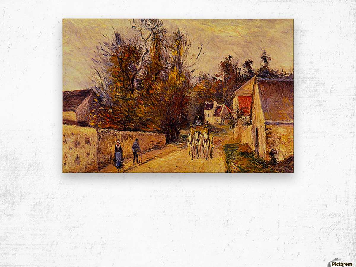 La Diligence, Route dEnnery by Pissarro Wood print