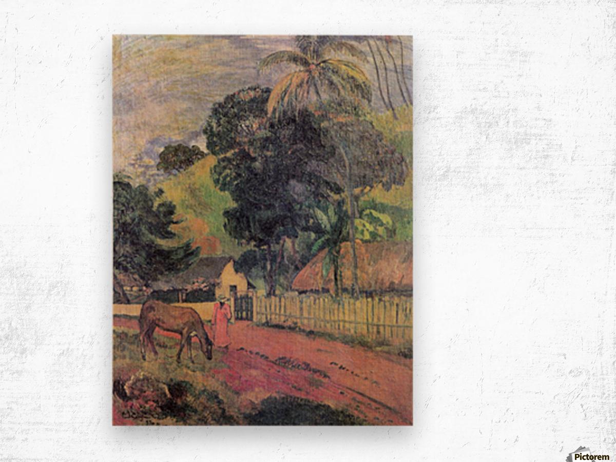 Landscape by Gauguin Wood print