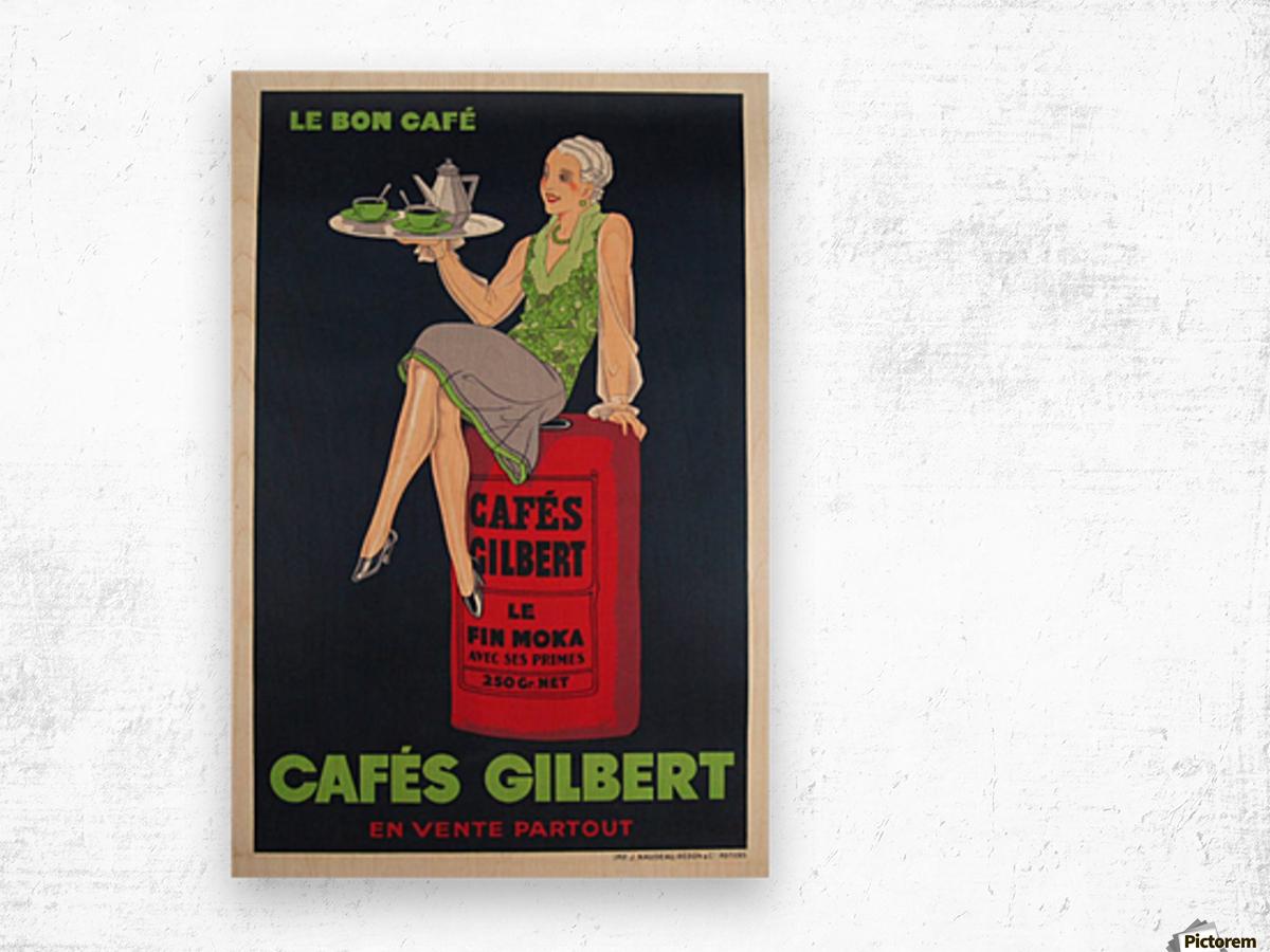 Cafes Gilbert original vintage food poster from France Wood print