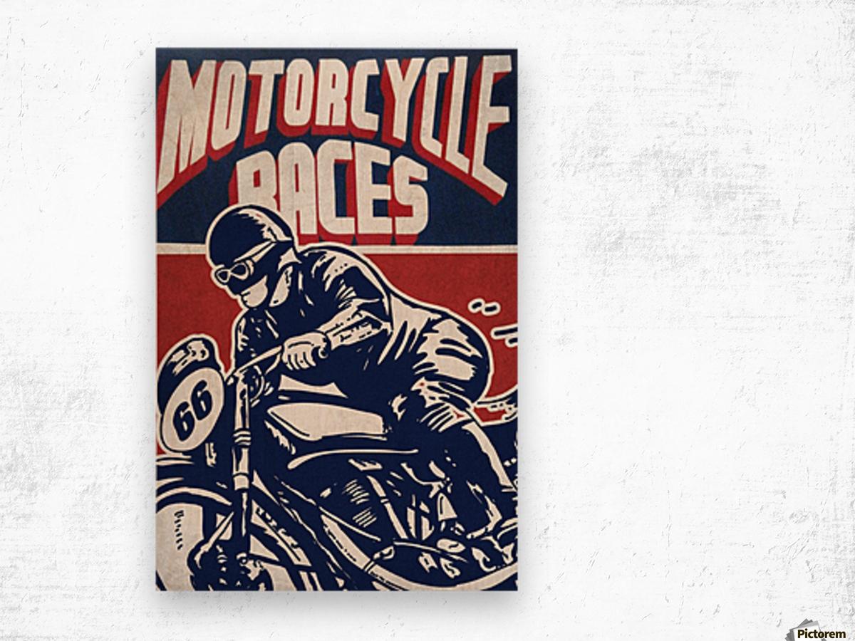Motorcycle Racing Vintage Poster Wood print
