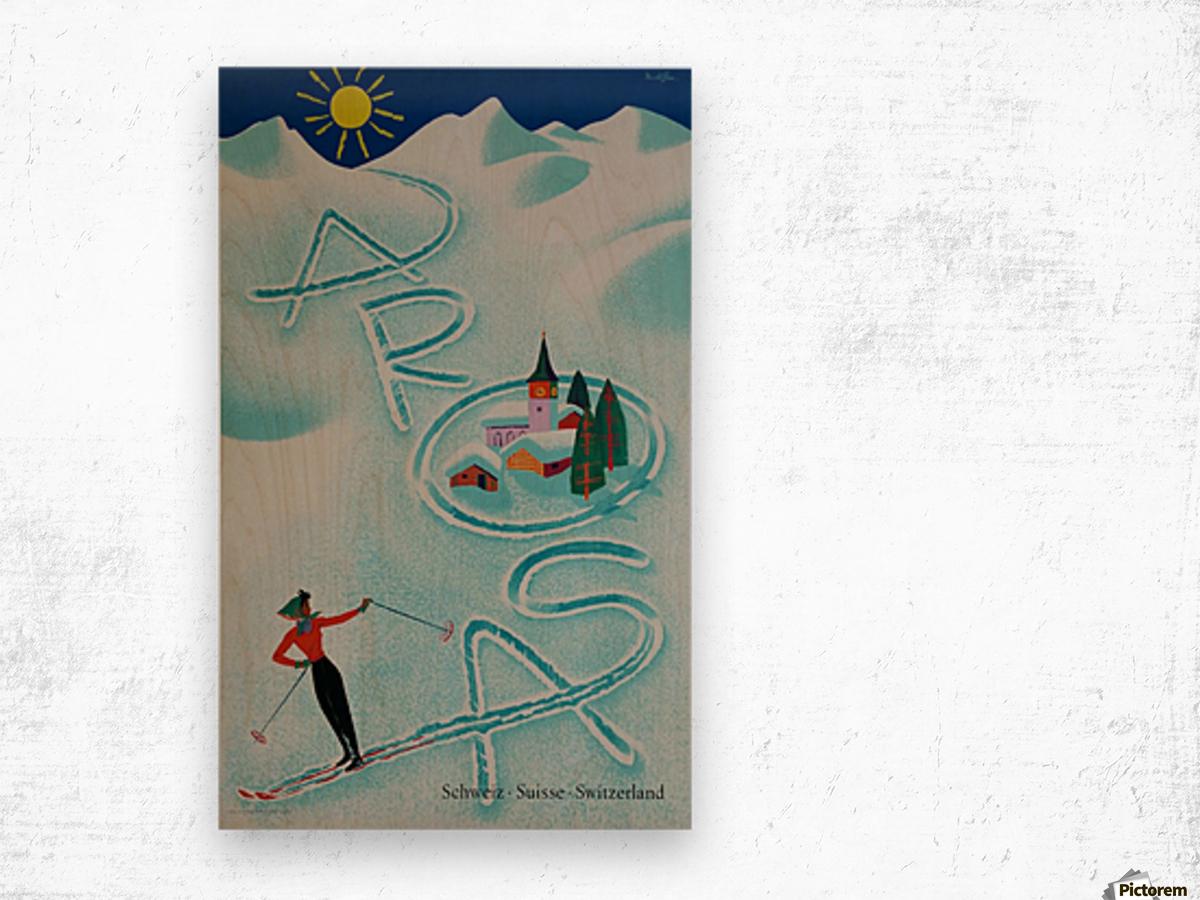 Original vintage poster ski Arosa Suisse Wood print