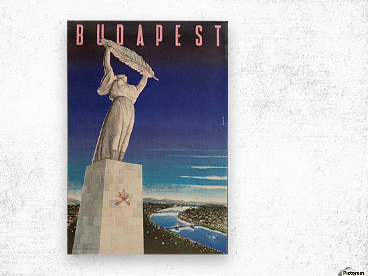Original vintage poster Budapest Wood print