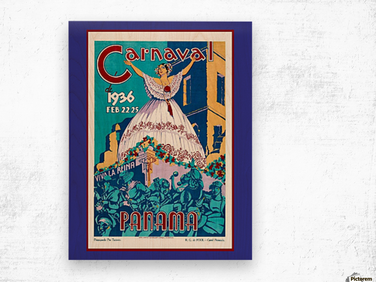 Vintage travel poster for Panama Carnival 1936 Wood print