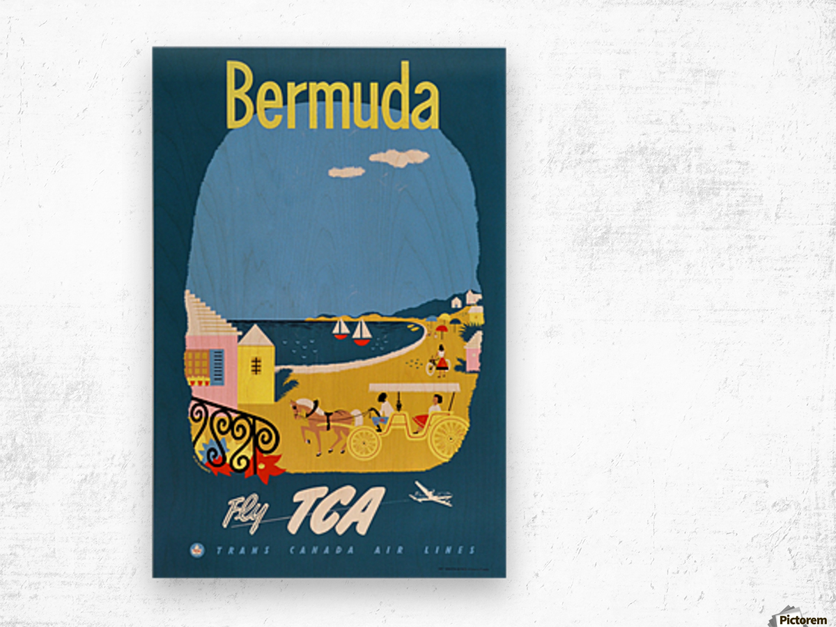 Bermuda Travel Poster for Fly Trans Canada Airline Wood print