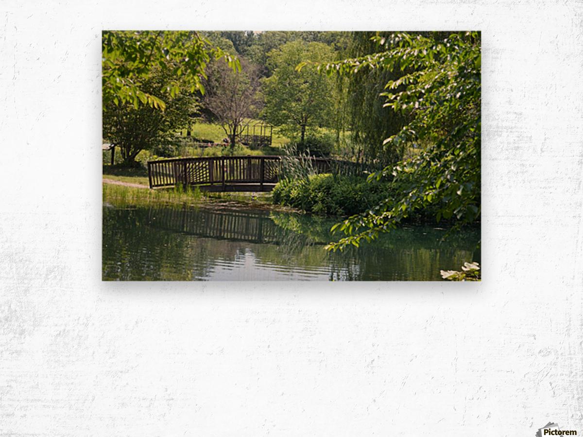 Bridge over pond Wood print