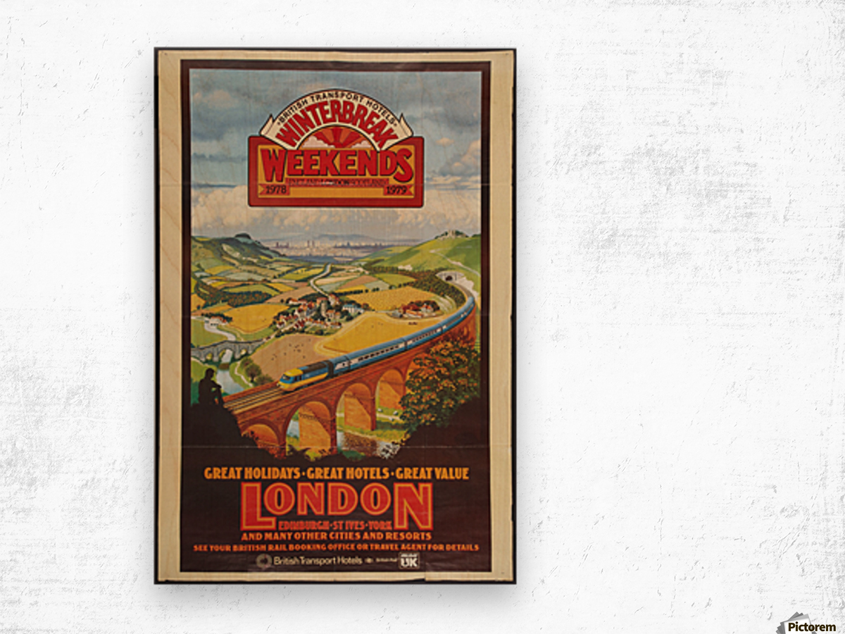 London vintage travel poster for British Railways Wood print