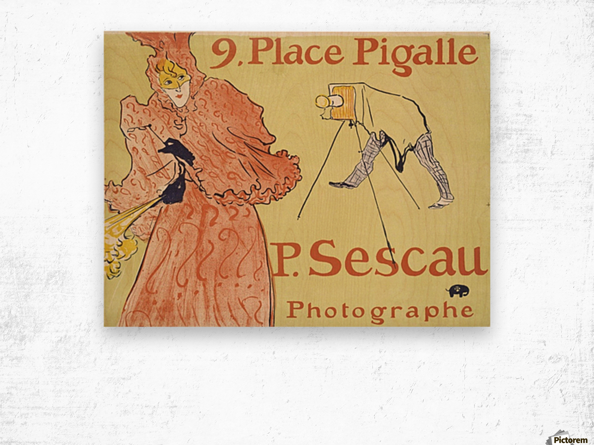 Vintage poster for French Photographe Wood print