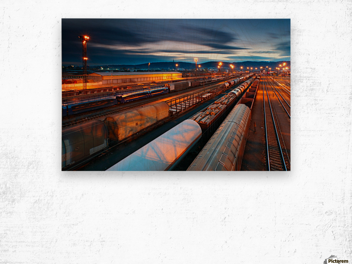 Freight station Wood print