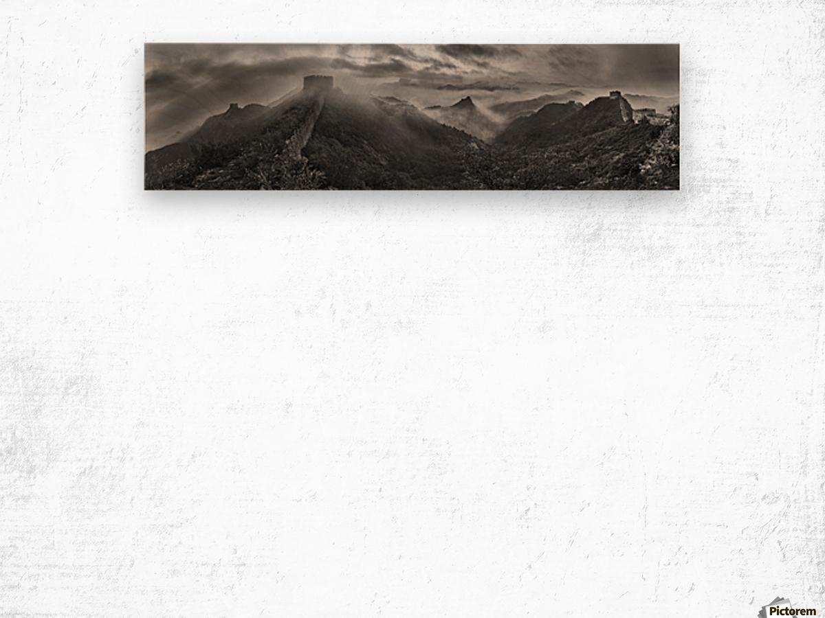 Misty Morning at Great Wall Wood print